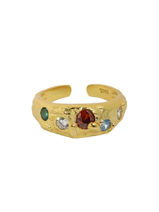 18K gold [red stone] 925 Sterling Silver Glass Stone Irregular Vintage Band Ring